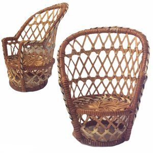 Rattan Peacock Doll Miniature Chair Wicker